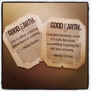 Good Earth Tea giving good advice